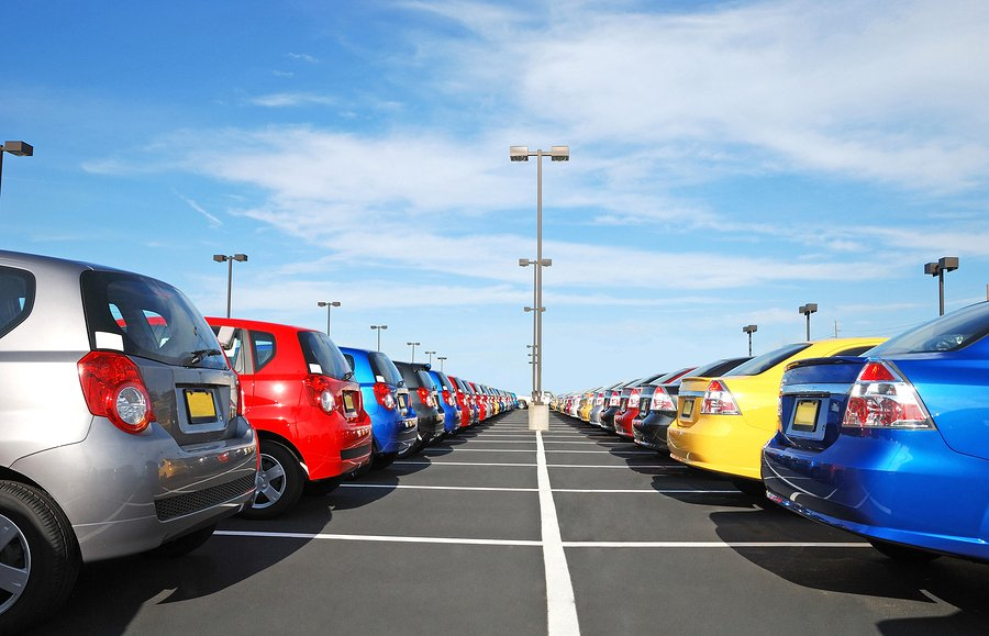 new cars in the parking lot in the automobile delership